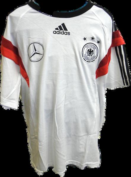 best shoes better cost charm DFB-T-Shirt von adidas, weiß mit schwarzen Streifen und roten Muster,  DFB-Logo und Mercedes-Logo vorne, Mercedes-Schriftzug hinten