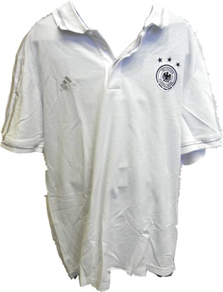 günstigen preis genießen moderner Stil Sonderangebot DFB-Poloshirt von adidas, weiß mit silbernen Streifen, Größe L